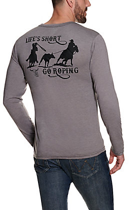 Cowboy Hardware Men's Grey with Black Life's Short Go Roping Long Sleeve T-Shirt