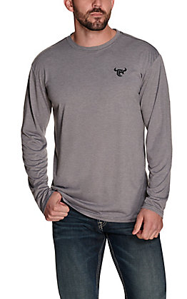 Cowboy Hardware Men's Grey with Black Logo Long Sleeve T-Shirt