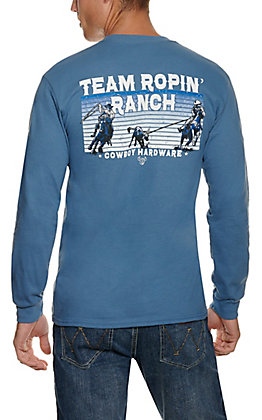 Cowboy Hardware Men's Blue Team Roping Ranch Long Sleeve T-Shirt
