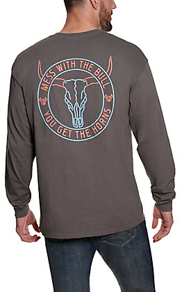Cowboy Hardware Men's Grey Mess With The Bull Neon Graphic Long Sleeve T-Shirt