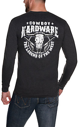 Cowboy Hardware Men's Dark Charcoal The Legend of the West Graphic Long Sleeve T-Shirt