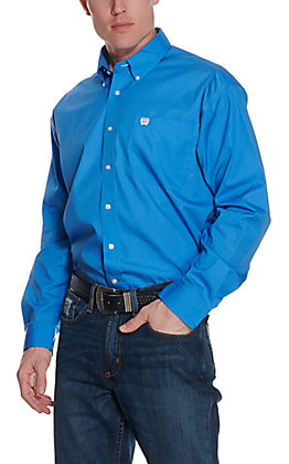 Cinch Men's Solid Blue Long Sleeve Western Shirt