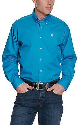 Cinch Men's Solid Turquoise Long Sleeve Western Shirt