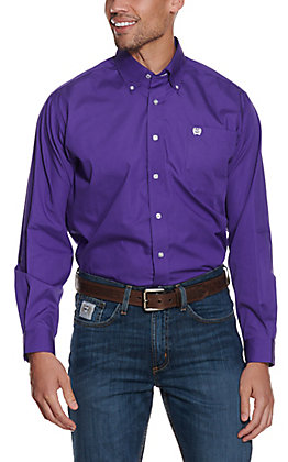 Cinch Men's Solid Purple Long Sleeve Western Shirt