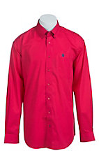Cinch Men's Solid Pink with Contrast Western Shirt