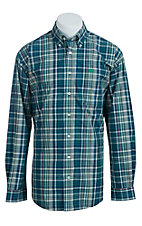 Cinch Men's Blue, Cream, and Green Plaid Western Shirt