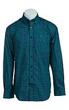 Cinch Men's Blue with Green and Black Dots Western Shirt