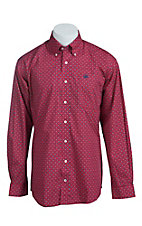 Cinch Men's Pink with Blue Print Western Shirt