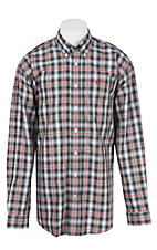 Cinch L/S Mens Black Grey Red Plaid Shirt 1104089