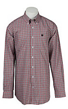 Cinch L/S Mens Black Red Mini Plaid Shirt 1104090