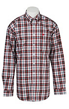 Cinch L/S Mens White Red Black Plaid Shirt 1104091