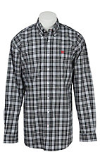 Cinch L/S Mens Black Grey Plaid Shirt 1104092