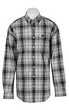 Cinch L/S Mens White Black Plaid Shirt 1104093
