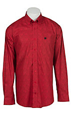 Cinch L/S Mens Red Geo Print Shirt 1104097