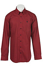 Cinch L/S Mens Black Red Print Shirt 1104098