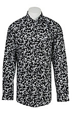 Cinch L/S Mens Black White Floral Shirt 1104100