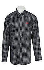 Cinch L/S Mens Black Square Print Shirt 1104101