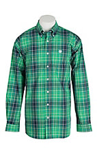 Cinch Men's Green and Blue Plaid L/S Shirt