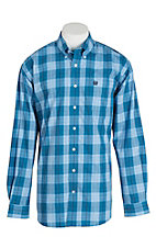 Cinch Men's Blue and White L/S Plaid Shirt