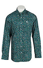 Cinch Men's Navy Paislye Print L/S Shirt