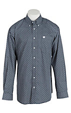 Cinch Men's Navy and White Circle Print L/S Shirt