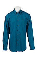 Cinch Men's Navy and Blue Print L/S Shirt 1104203
