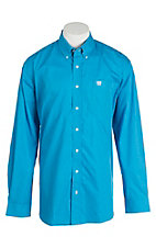 Cinch Men's Blue and White L/S Shirt