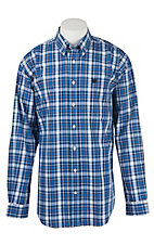 Cinch Men's Blue Plaid Print L/S Shirt