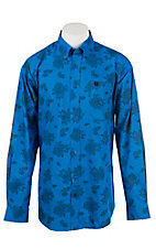 Cinch Men's Royal Blue with Black Paisley Print L/S Shirt