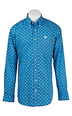 Cinch Men's Blue Circle Print L/S Shirt