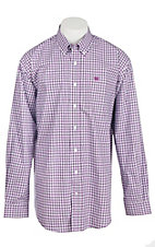 Cinch Men's White and Purple Windowpane Plaid L/S Shirt