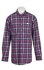 Cinch Men's White, Coral, Navy, and Purple Plaid L/S Shirt
