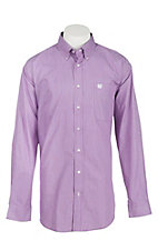 Cinch Men's White and Purple Mini Stripe L/S Shirt