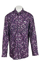 Cinch Men's Purple and White Big Paisley Print L/S Shirt