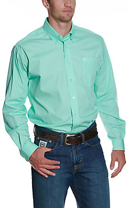 Cinch Men's Solid Green Long Sleeve Western Shirt
