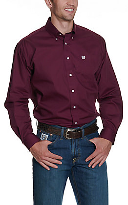Cinch Men's Solid Burgundy Long Sleeve Western Shirt