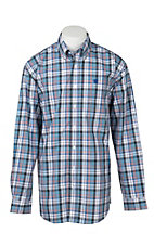 Cinch Men's White, Black, Blue, and Red Plaid L/S Shirt