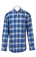 Cinch Men's White, Black, and Blue Plaid L/S Shirt