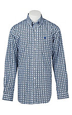 Cinch Men's White, Black, and Royal Medallion Print L/S Shirt