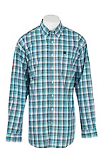 Cinch Men's Turquoise, Grey, White, and Black Plaid L/S Shirt