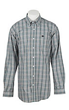 Cinch Men's Turquoise, Gold, White, and Black Mini Plaid L/S Shirt
