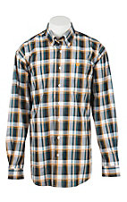Cinch Men's Turquoise, Gold, White, and Black Plaid L/S Shirt