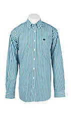 Cinch Men's Turquoise, Grey, White, and Black Stripe L/S Shirt