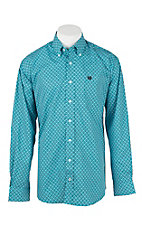 Cinch Men's Turquoise, Grey, White, and Black Medallion Print L/S Shirt