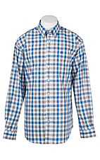 Cinch Men's Blue, Grey, and White Plaid L/S Western Shirt