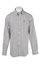 Cinch Men's Black and White Stripe L/S Western Shirt