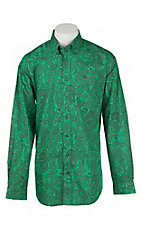 Cinch Men's Green with Brown Paisley Print L/S Western Shirt