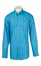Cinch Men's Blue and Red Mini Print L/S Western Shirt