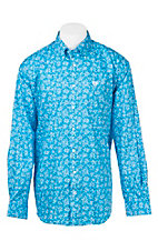 Cinch Men's Blue and White Floral Print Long Sleeve Western Shirt