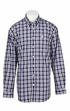 Cinch Men's Purple, Grey, and White Plaid L/S Western Shirt